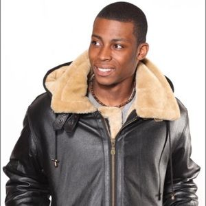 Other - Men's Leather Coat With Fur And Removable Zipper